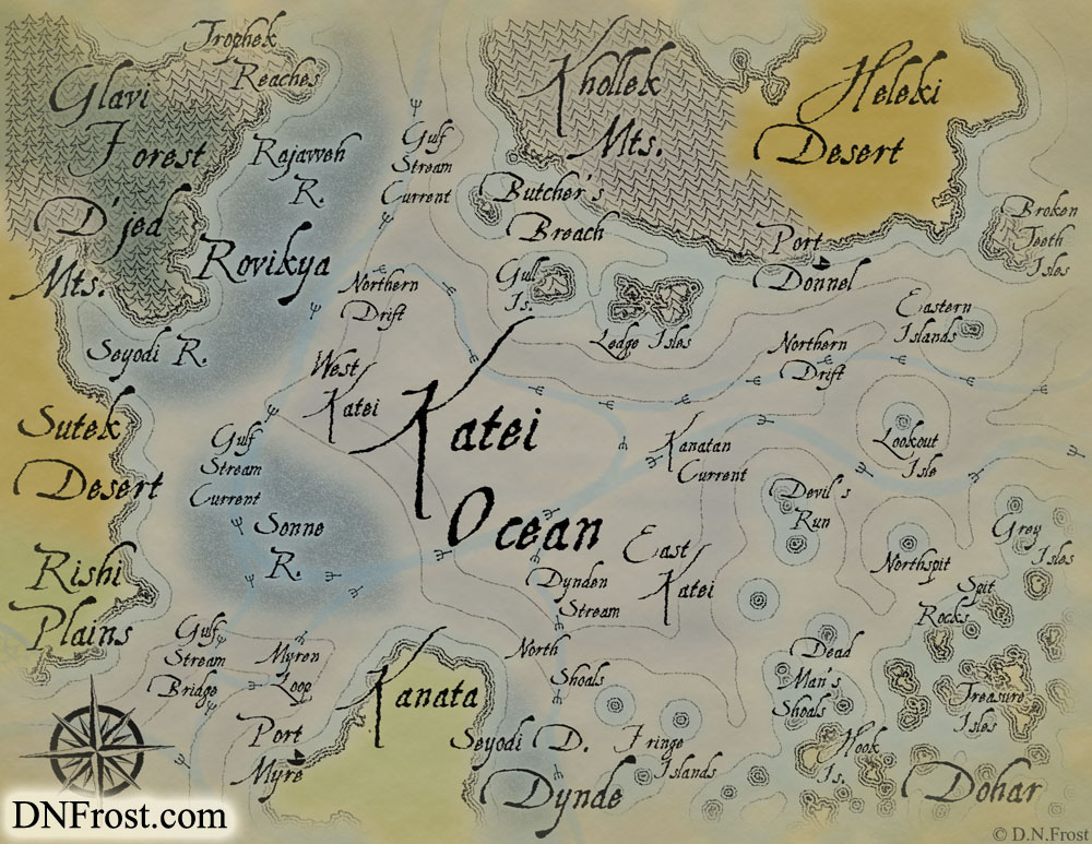 The Katei Ocean: lifeblood of trade routes and pirates alike www.DNFrost.com/maps #TotKW A map for Broken by D.N.Frost @DNFrost13 Part of a series.