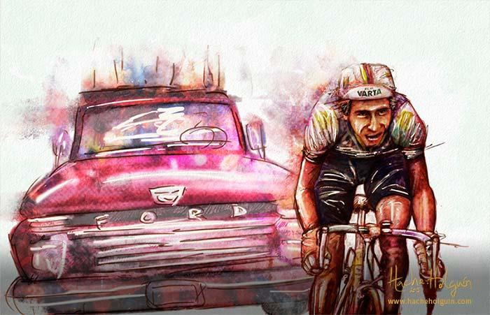 Ilustración de ciclista colombiano en competencia, con carro perseguidor