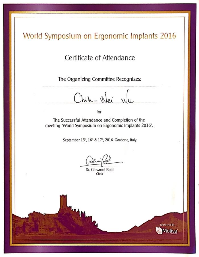 2016 world symposium of ergonomic implant