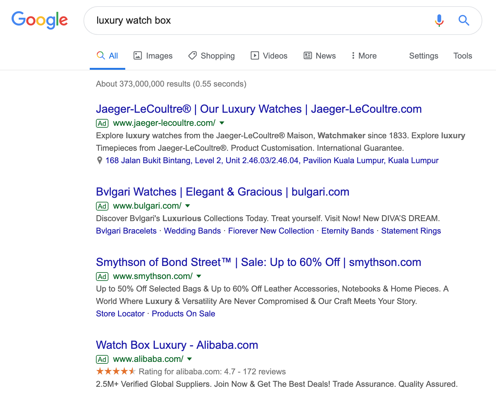 Example of 'luxury watch box' Google search