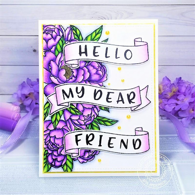 Sunny Studio Stamps: Phoebe Alphabet Banner Basics Frilly Frame Dies Pink Peonies Everyday Card by Ana Anderson