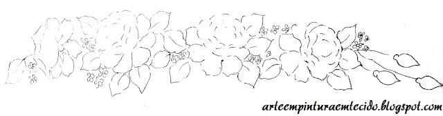 barrado de rosas risco pintura em tecido