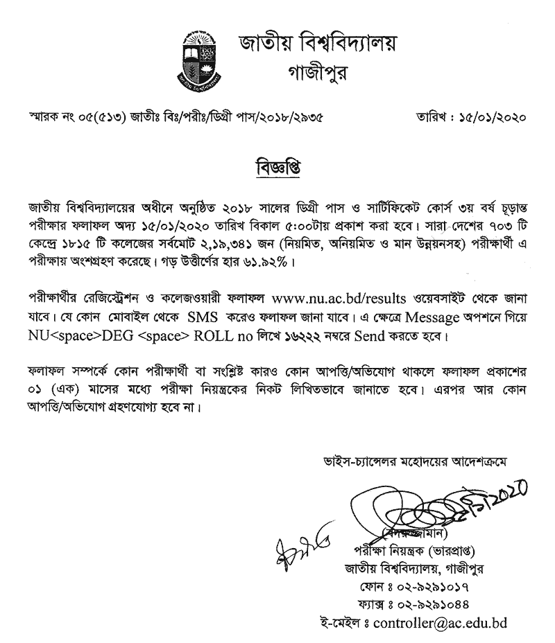 Degree Final year result 2020 published notice