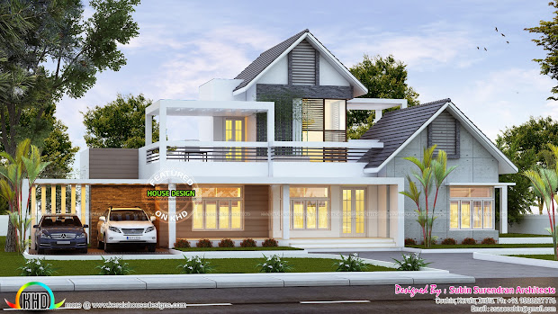 Sloped Roof Contemporary Houses