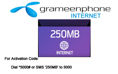 Grameenphone Internet 250 MB Pack-99 Taka