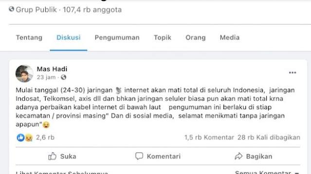 Benarkah Internet Mati Total Jumat Besok Sampai 30 September? Cek Fakta Sebenarnya di Sini