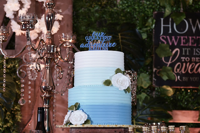 Rustic Themed Cake - Blue Gradient