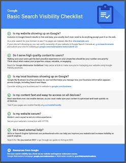 قائمة التحقق الأساسية التي يقدّمها Google لحسين ظهور الموقع الإلكتروني على محرّك البحث.