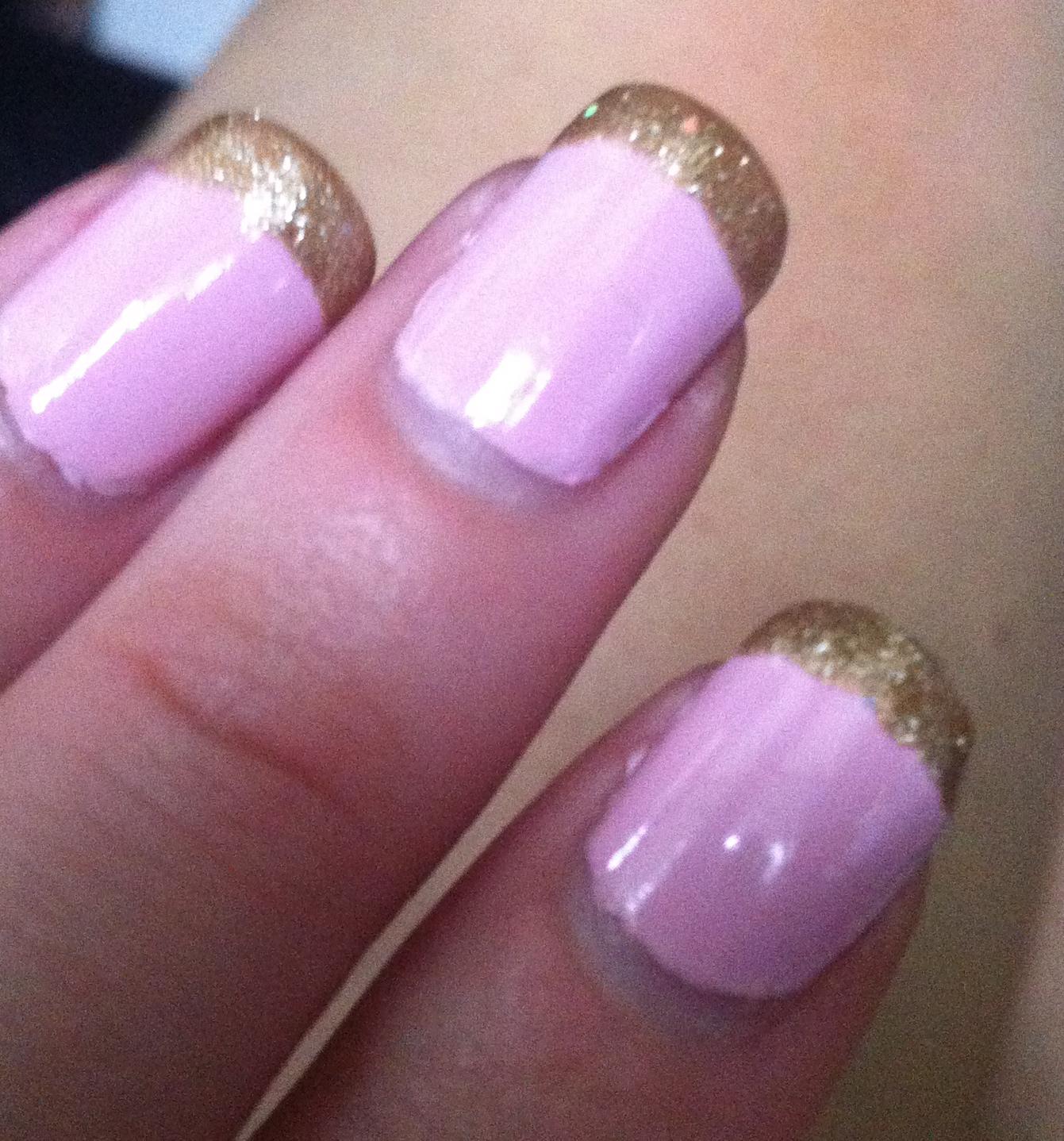 Nenta's Frivolity: Baby Pink Nails with Gold Glitter Tips