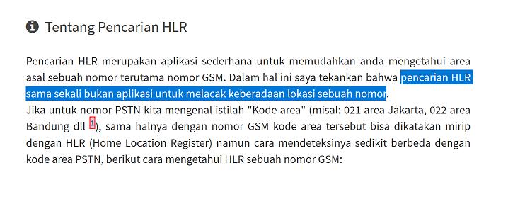 Mencari Nomor HLR