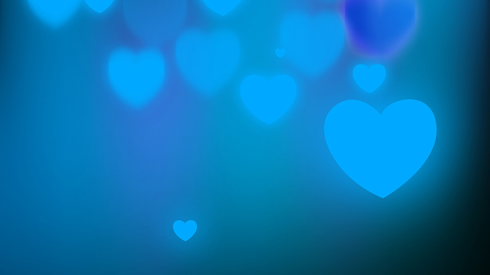 Blue Background with abstract hearts HD Background For Google Slides and PowerPoint Presentations