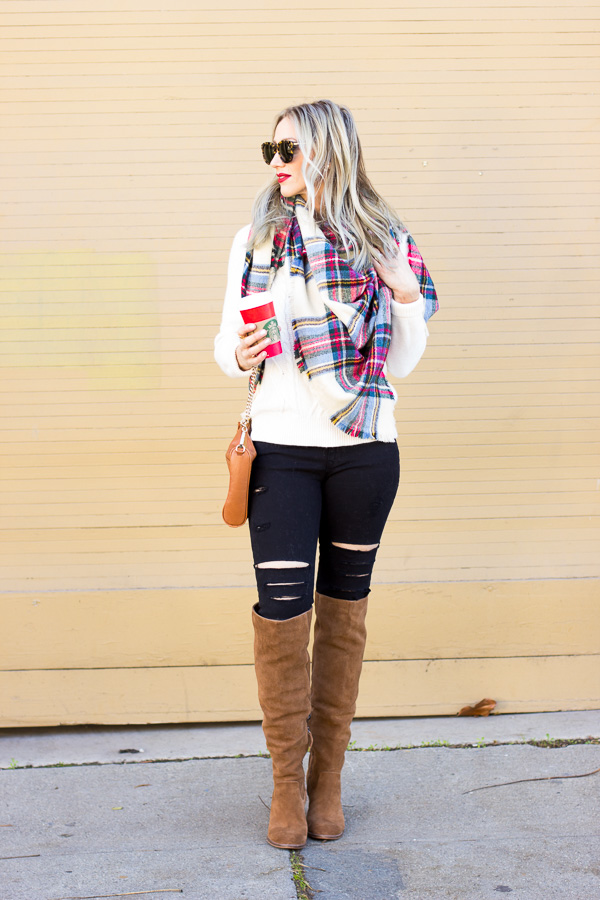 christmas outfit idea plaid scarf red lip cognac accessories