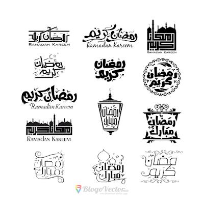 Ramadan Kareem calligraphy set Logo Vector