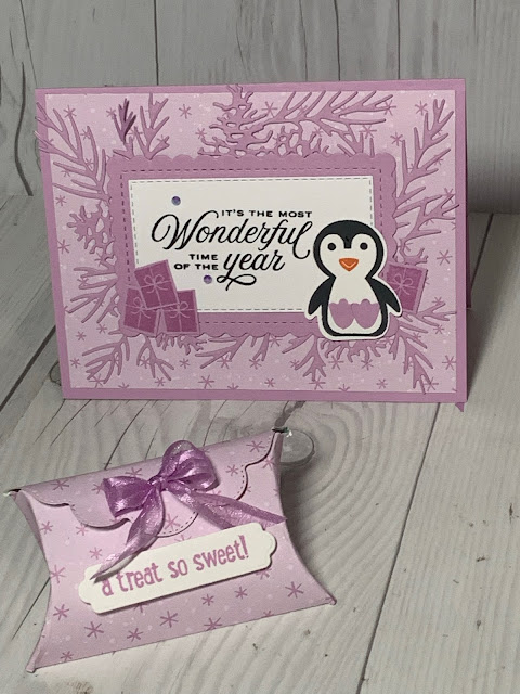 Penguin Christmas Card with matching Pretty Pillowbox made with dies from Stampin' Up!