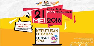 Semakan Tawaran UPU 2018 Lepasan SPM