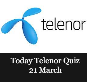 Telenor Quiz Answers 21 March 2021    21 March Telenor Quiz Today    Today Telenor Quiz