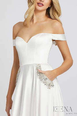 Off the shoulder A-line Evening Dress Ieena For Mac Duggal white Color Front side