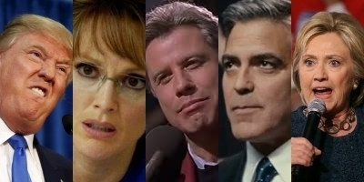 2016 GOP nominee for president Donald Trump, Julianne Moore as 2008 GOP nominee for vice president Governor Sarah Palin in RECOUNT, John Travolta as fictional Democratic nominee for president Governor Jack Stanton in PRIMARY COLORS, George Clooney as fictional Democratic nominee for president Governor Mike Morris in THE IDES OF MARCH, 2016 Democratic nominee for president Hillary Clinton