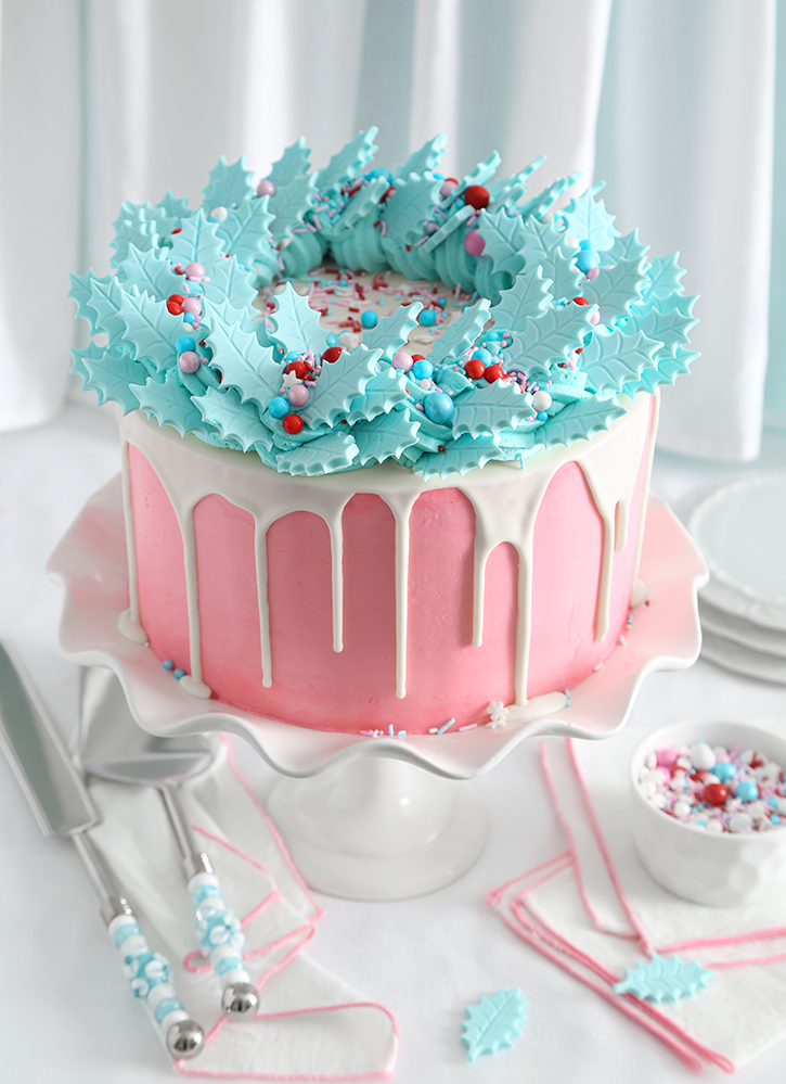 Blue Holly Gingerbread Cake