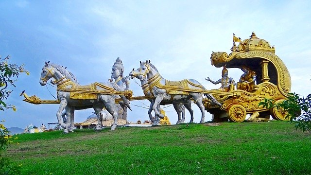 Krishna with Arjuna on Chariot