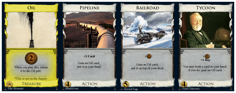 Cards called Oil, Pipelione, Railroad, and Tycoon.