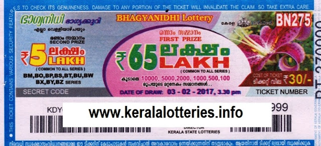 Kerala lottery result official copy of Bhagyanidhi (BN-100)
