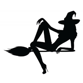 Sexy witch on broom picture
