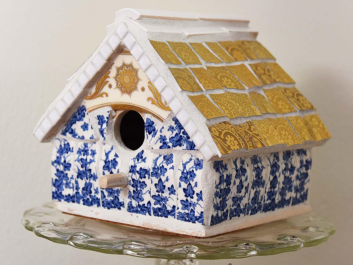 Mosaic birdhouse blue white gold