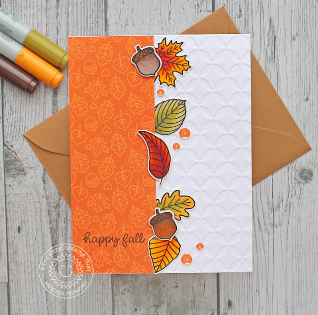 Sunny Studio Stamps: Woodsy Autumn Beautiful Autumn Elegant Leaves Fall Themed Card by Vanessa Menhorn