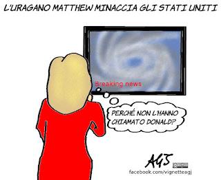 Hillary Clinton, uragano, Matthew, Renzi, Donald Trump, vignetta, satira