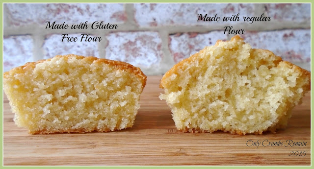 Visual difference of cupcakes made with regular flour compared to Gluten Free flour