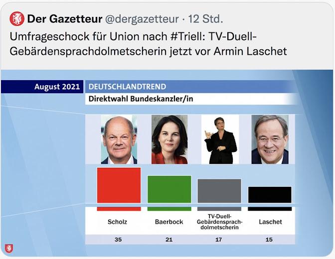 Umfrageschock für Union nach #Triell: TV-Duell-Gebärdensprachdolmetscherin jetzt vor Armin Laschet