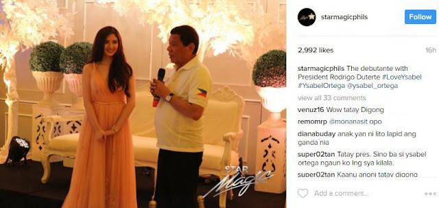 Duterte to Ysabel Ortega on her 18th Birthday: 'Don't fall in love yet'