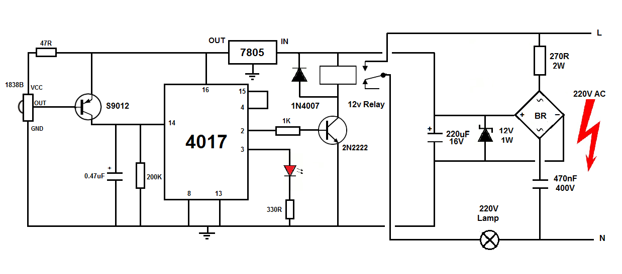 remote control circuit for turn on off any home appliances