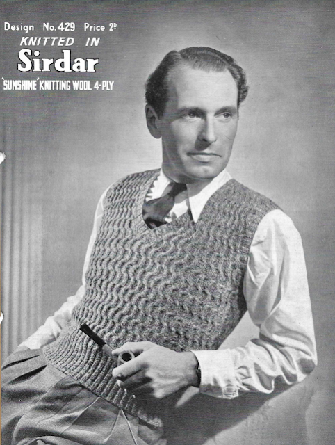 The Vintage Pattern Files: 1940's Knitting - Mens Coil Stitch Pullover