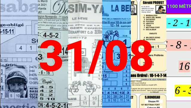 Pronostics quinté+ pmu Mardi Paris-Turf-100 % 31/08/2021