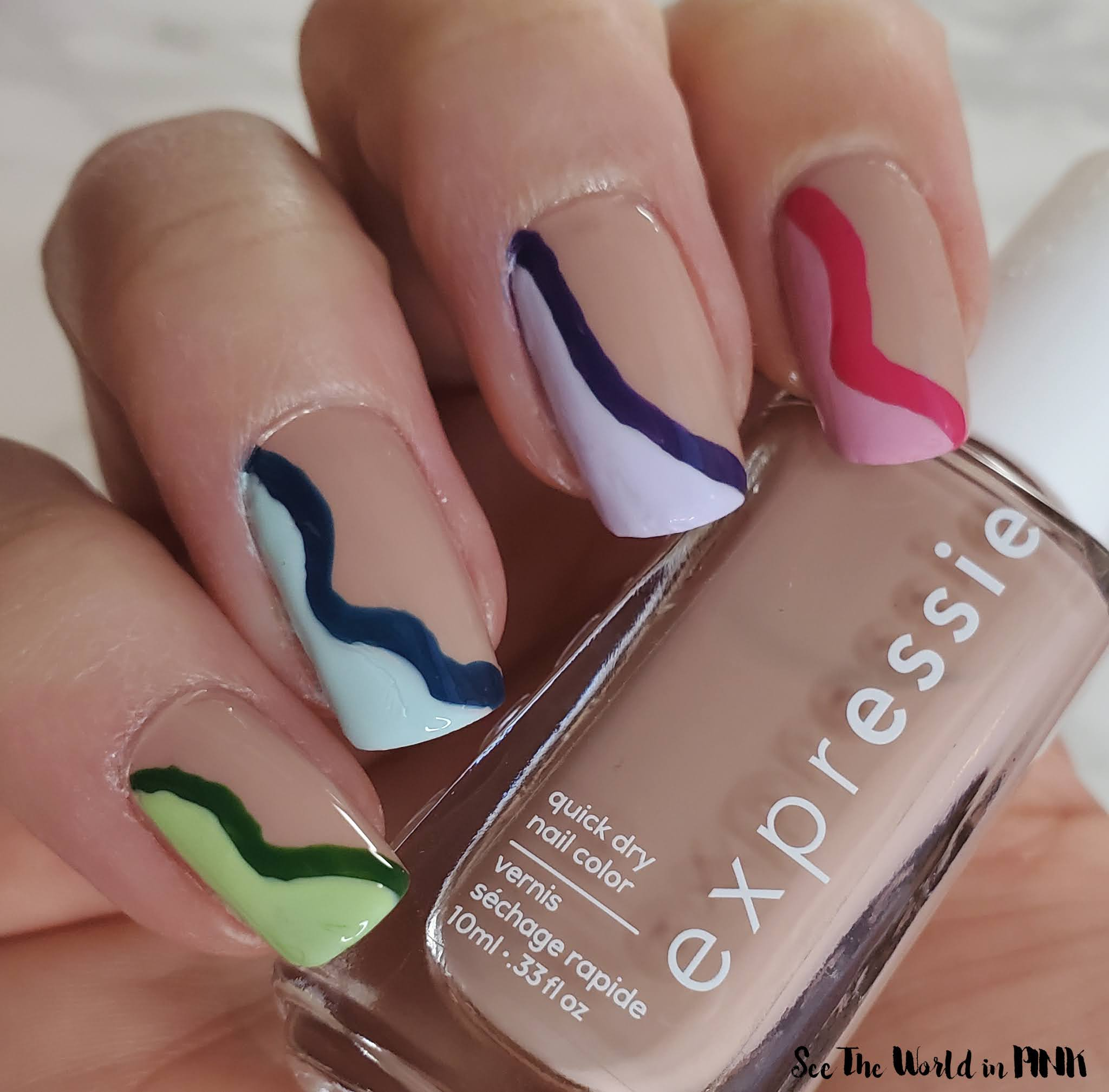 """Manicure Monday - """"Negative Space"""" Squiggly Line French Mani"""