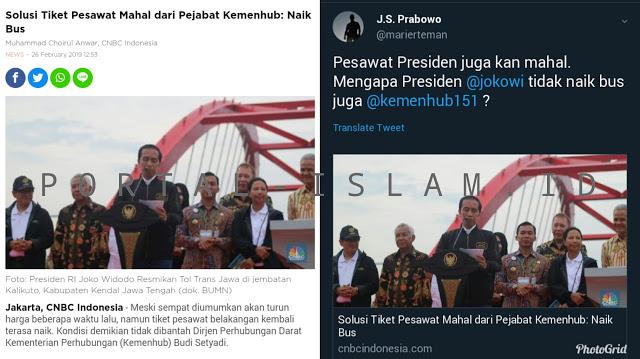 Harga Tiket Pesawat Mahal, Kemenhub: Naik Bus Saja. Suryo Prabowo: Kenapa Presiden Jokowi Nggak Naik Bus Juga?