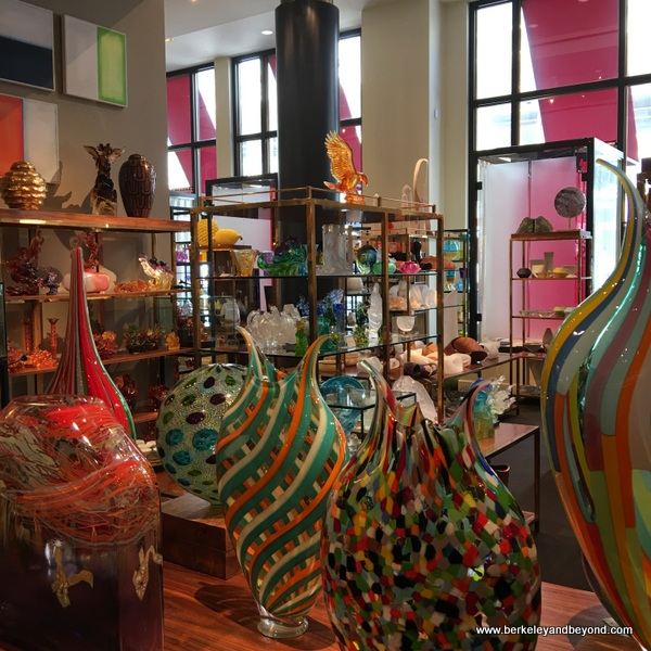 colorful glass items at Gump's in San Francisco, California