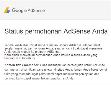 Solusi di tolak Google Adsense