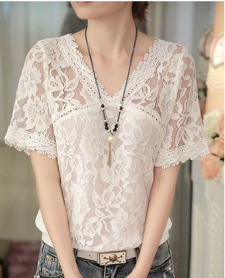 V Neck Patchwork Lace Blouses– Price:$ 23.36