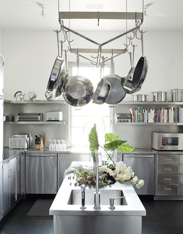kitchen with stainless steel cabinets, pot rack and island