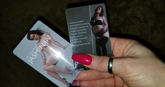 Front and Back of Jasmin Jai's Business Cards