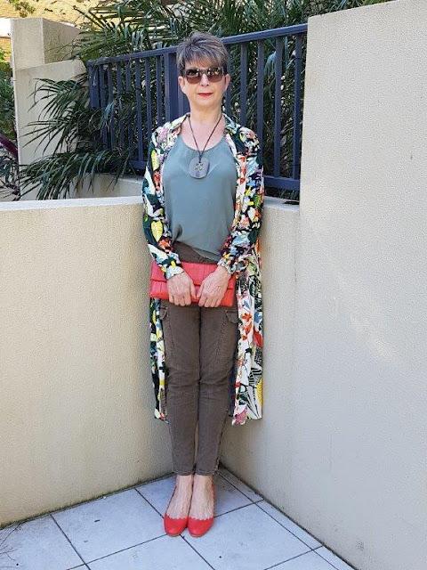 Green cargo pants-green sleeveless top-red shoes-floral-shirt-dress