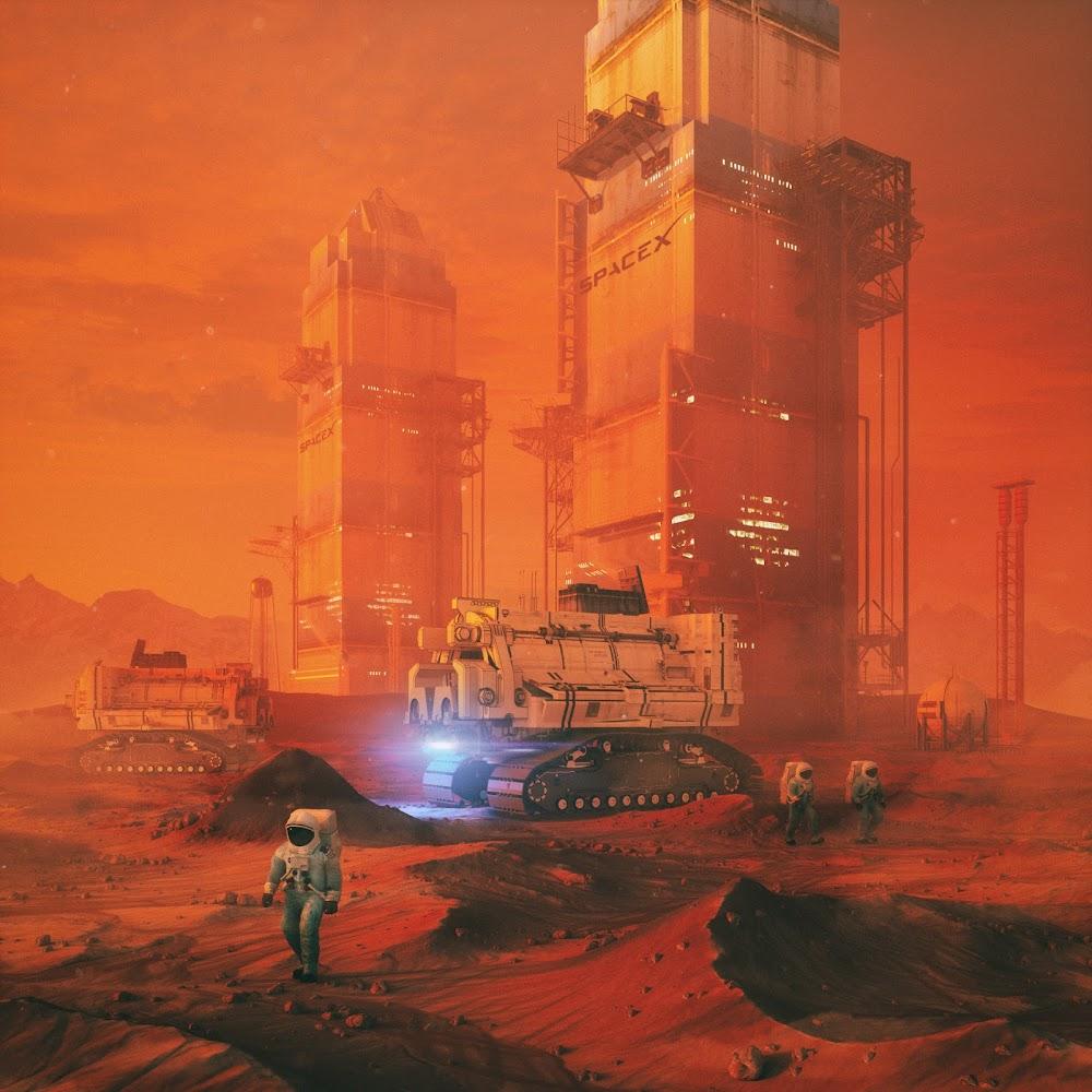 Brutalist SpaceX spaceport architecture on Mars by Mike Winkelmann (beeple)