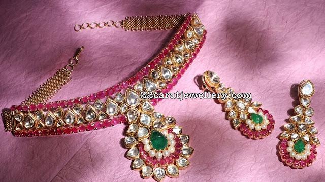 Ruby Polki Choker by Nac Jewellers