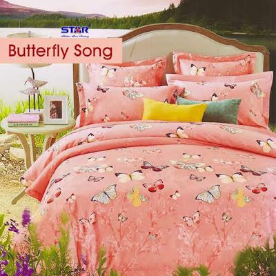 sprei motif Butterfly Song Pink terbaru