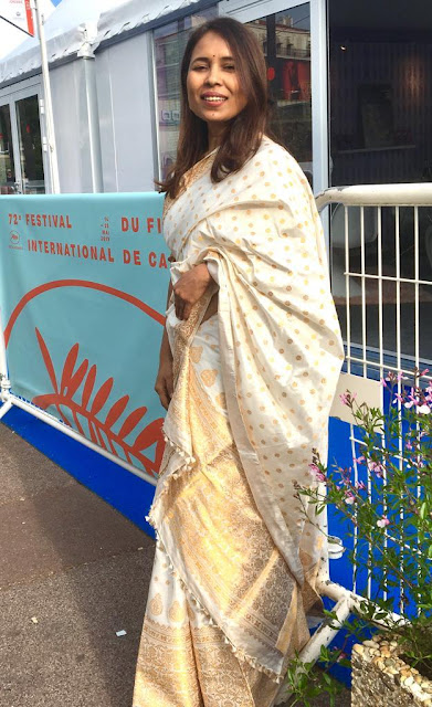 Filmmaker Rima Das retains her regional identity as she wears an Assamese Saree, called Mekhela Chaddar, by renowned designer Tara Bhuyan at the Cannes Film Festival