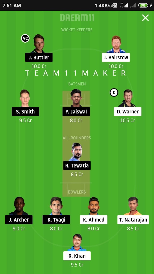 SRH VS RR, Match 26 fantasy 11 prediction and tips
