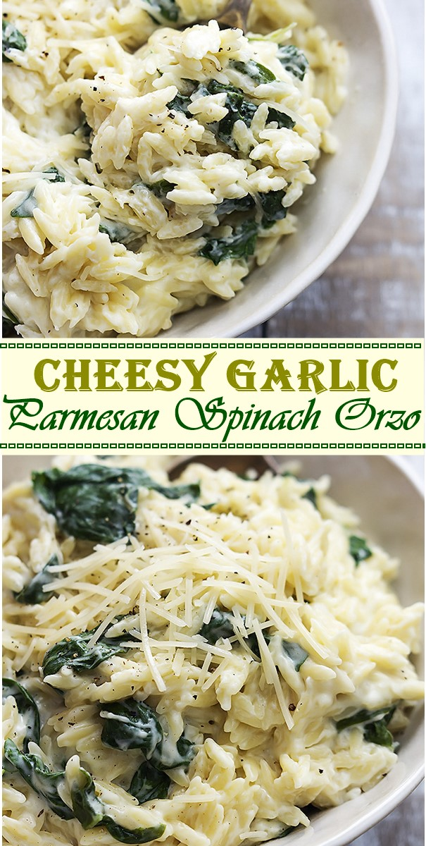 Cheesy Garlic Parmesan Spinach Orzo #pastarecipes